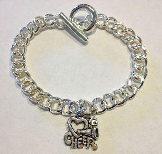 Set of 12 silver cheerleader cheerleading spirit charm bracelets BRAND