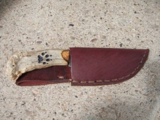 Whitetail Deer Antler Patch Skinner Hunting Knife w/ Sheath Wolf Track