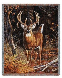WHITE TAIL DEER LODGE WILDLIFE BAD ATTITUDE TAPESTRY THROW AFGHAN