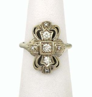 Art Deco 14k White Gold Ladies Diamond Ornate Ring