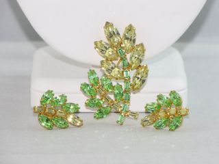 Vintage B David Green Rhinestone Flower Brooch and Earrings Juliana