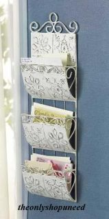 ANTIQUE WHITE METAL LETTER ORGANIZER WALL RACK MAIL HOLDER NEW