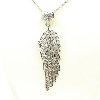 Butler and Wilson Silver Angel Wing Heart Necklace S