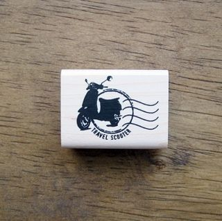 Decorative Stamps Rubber Stamp Travel Scooter Postmark