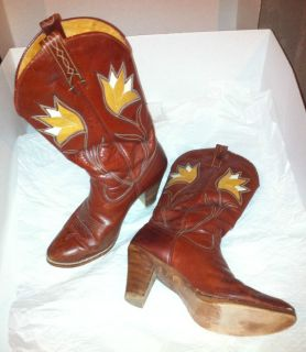 Dan Post Red Maroon Brown Tan Leather Women Cowboy Boots size 7 M