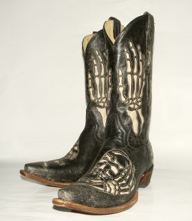 260 Corral Mens A2302 Black Crackle Western Boot with Skull Bone