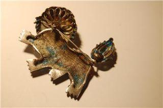 Vintage Foo Dog Vermeil Enamel Pin Brooch Silver Gold Hallmark Perfect