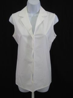 Dana Buchman White Sleeveless Blouse Shirt Top Sz 4