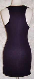RACHEL ROY Dark Eggplant Plum Stretch Tank Top XXS w / Necklace