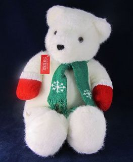 Clean White Plush Stuffed Teddy Bear EUC Animal Mittens Scarf