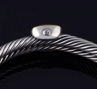 David Yurman Blue Topaz Double Cable Bracelet Cuff
