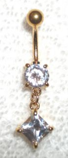 14 KT Gold CZ Princess Cut Dangling Belly Navel Ring