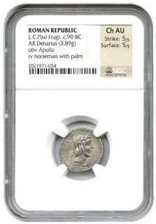 Ancient Roman L C Piso Frugi AR Denarius 90 BC NGC AU Roman Republic