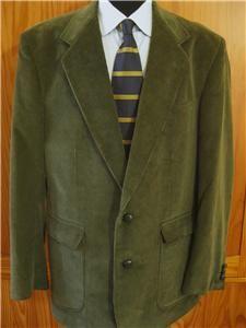 David Taylor Classic Olive Green Corduroy Blazer Sport Coat Jacket 42L