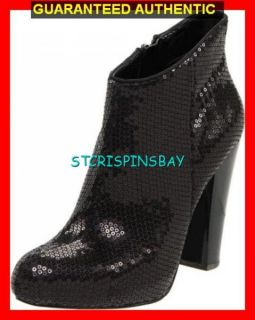 Nine West Delly Black Sequin Ankle Boots Shoes Womens 7 New Retail $