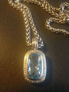 David Yurman Blue Topaz w Pave Diamonds Necklace