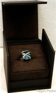Authentic David Yurman Blue Hampton Topaz Diamond Cable Ring w Box