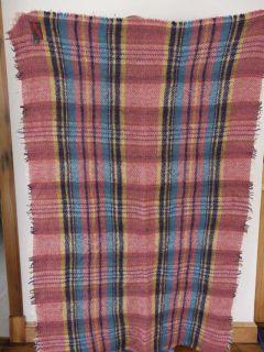 Vintage 50s Anna Davies UK Made Wool Plaid Blanket Fringe Throw 37 x