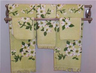 Vtg DOGWOOD 5 piece BATH TOWEL SET ~Never Used~ Montgomery Ward green