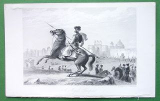 INDIA Mogul Trooper on Horse   1837 Antique Print by W. Daniell