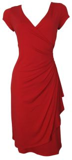 Red Cap Sleeve Faux Wrap Day Dress Size 8 10 12 14 16 New