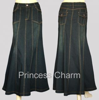 Princess Charm Black Long Denim Skirt Plus Size 26 24 22 20 18 16 14