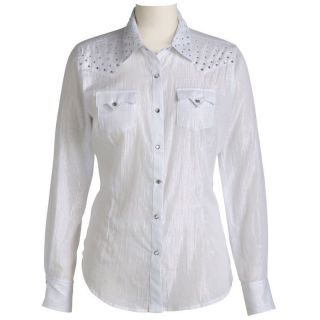 Womens Ariat 10007356 Dara White and Silver Stripe Snap Western Shirt