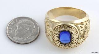 1992 University of Denver Syn Blue Spinel Class Ring   18k Gold Solid