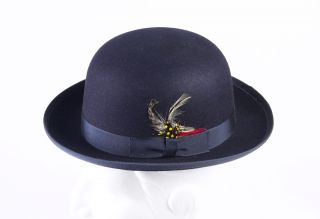 Navy Blue Derby Hat Super High Quality 100% Wool Money Back