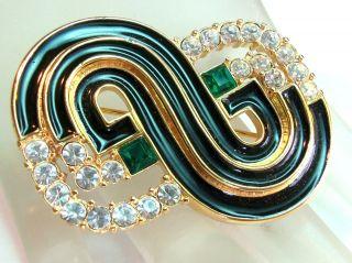 Elegant Black Gold Enamel Swirl Design Brooch Sparkly Crystals Vintage