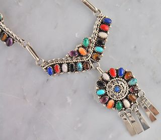 Nelson Harry Navajo Multi Color Silver Necklace Set