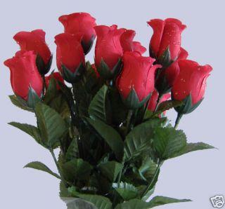 Artificial Silk Red Raindrop Dew Drop Rose Bud Flower