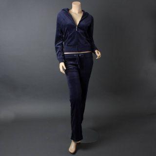 Navy Blue Velour Designer Long Sleeve Woman Tracksuit Jacket Pants Set