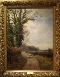 English County Land Sheep Landscape Antique Oil Painting David Bates