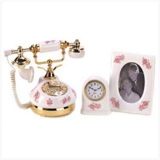 Desktop/End Table Porcelain Decor Accessories Trio Clock Photo Frame