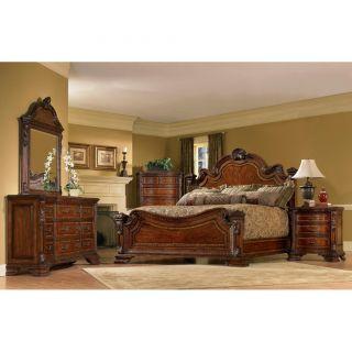 New Home Decor Bed Furniture King Size 4 piece Wood Estate Bedroom Set