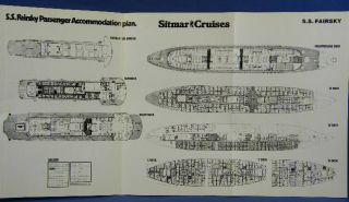 Vintage Deck Plan Sitmar Cruise SHIP SS Fairsky