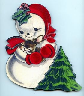 Tree Snow Bunny Decoration Wood Wall Sign Plaque Vtg Styl