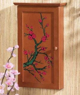 Blossom Hanging Jewelry Case Wooden Wall Cabinet Organizer Decor