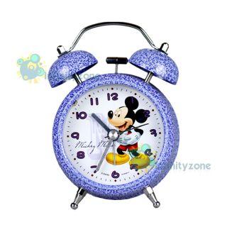 Disney Mickey Mouse Twin Bell Alarm Desktop Clock w Light A NEW