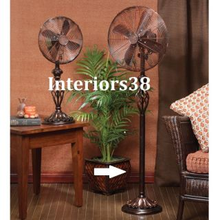 Cherry Finish Floor Standing Oscillating Whisper Fan 3 Speed