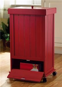 apple red rolling wooden kitchen trash bin new search