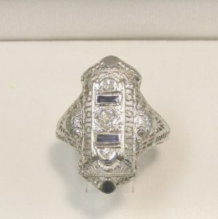 18K White Gold Art Deco Filigree Diamond Sapphre Ring