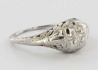 Antique Art Deco 18k White Gold Diamond Filigree Flower Engagement