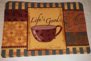 Coffee Latte Cafe Theme Kitchen Vinyl Placemat Place Mat Decor