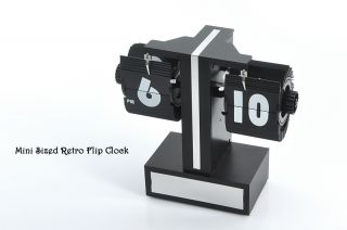 Retro Desktop Flip Clock Internal Gear Operated Time Adjustment 12 H