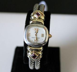 David Yurman 14k Gold Sterling Cable Classic Watch Pink Tourmalines