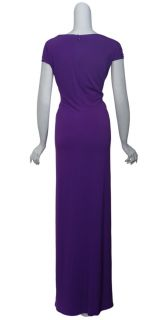 David Meister Flattering Purple Jersey Knit Jeweled Gown Dress Womens