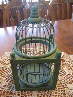 Green Metal Wire Wood Decorative Bird Cage Hanging Door Painted