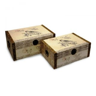 Cottage Chic Linen Fabric Covered Decorative Storage Trunks